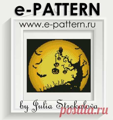 """Бесплатная авторская схема вышивки крестом """"Страшная луна"""" Хэллоуин"""