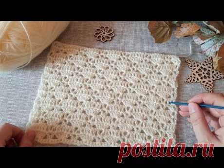 Легкий, ажурный узор крючком для вязания топа, джемпера, пуловера и не только👌. - YouTube