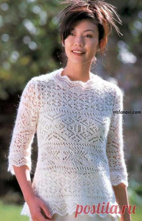 Мохеровый ажурный пуловер - Вяжем с Лана Ви Ажурный пуловер спицами связан из мохеровой пряжи или подобной, очень подходит для теплой осени.Хотя пряжу взять можно совершенно любую. Как разобраться в японских обозначениях, есть в публикации «Читаем японские схемы вязания». Легких петелек, если понравится! Мохеровый ажурный пуловер Размер 46: обхват груди – 92 см ширина спинки по плечам – 35 см длина изделия – […]
