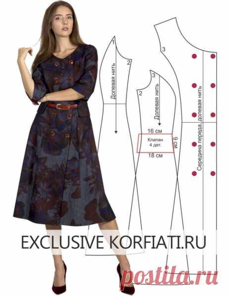 Выкройка двубортного платья от Анастасии Корфиати