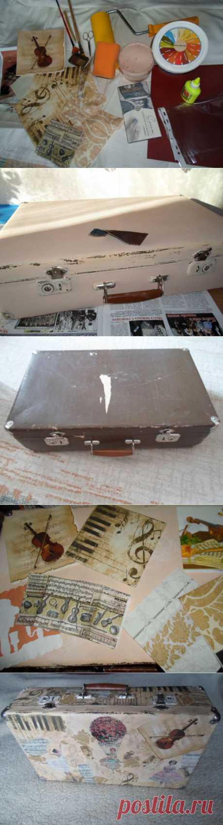 Мастер-класс по декупажу: Страна Чемодания. Житель №4 - ретро-чемодан «Забытая мелодия» - ремонт чемодана, мастер класс по декупажу, ретро чемоданы