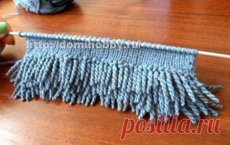 Вязание спицами скрученной бахромы ( 9 фото )   Краше Всех