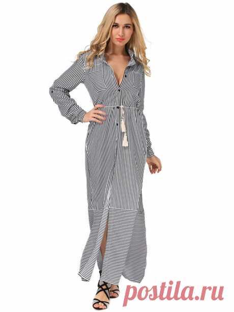 Casual Women Long Sleeve Stripe Buttons Maxi Shirt Dresses - US$24.55