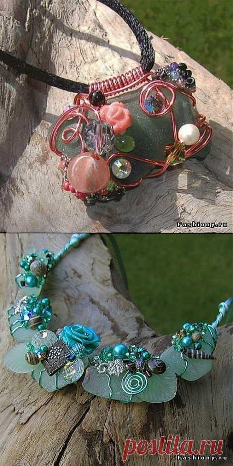 Модные тенденции » Украшения из ракушек, гальки, стекла от Andriasserendipity