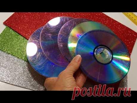 Взяла лишь dvd ДИСК cd и ФОАМИРАН. КРАСОТА своими руками.DIY подарки поделки идеи 8 марта.цветы фом.