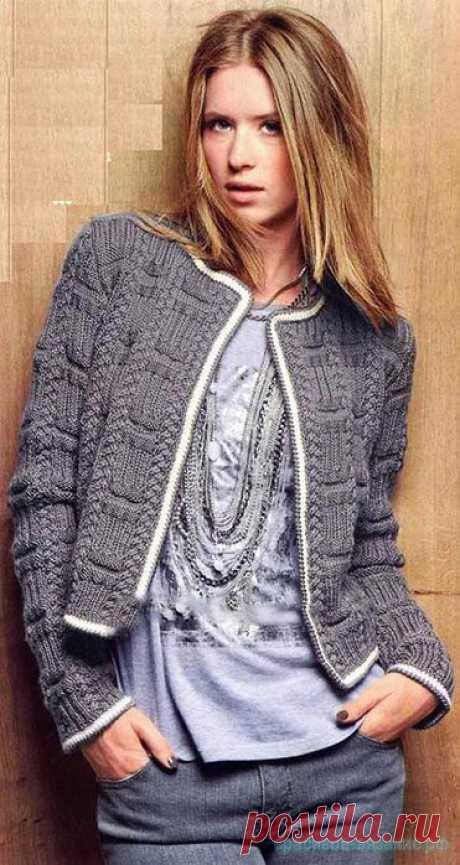Жакет в стиле Шанель спицами — Красивое вязание