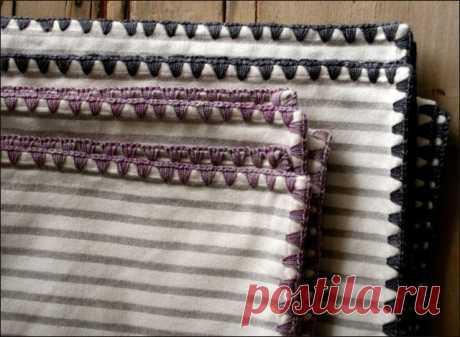Обвязка ткани крючком