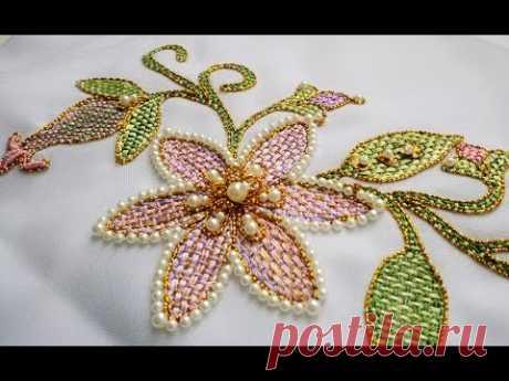 ВЫШИВКА: ШОВ  ШТОПКА \  Hand Embroidery: Checkered Flower Stitch