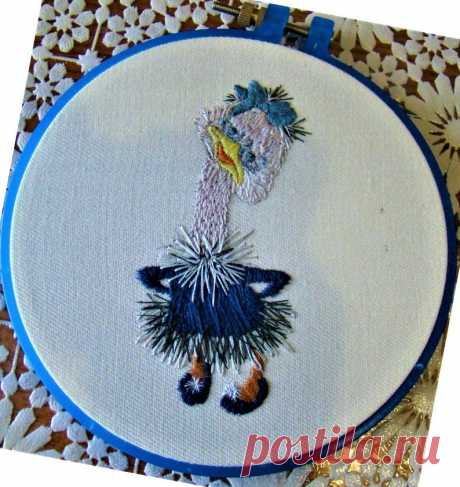 Ostrich Thread Painting Pattern Needlepoint Hand Embroidery   Etsy