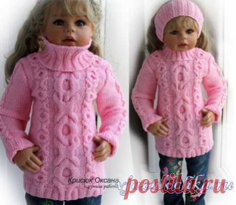 Детская розовая кофта спицами