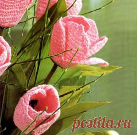 Яркие вязанные тюльпаны, МК   Рукоделие