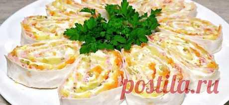 Салат «Мимоза» в лаваше — отличная закуска как для праздничного стола, так и для разнообразия рациона семьи в будние дни.  Необычное сочетание вкусов, сытность и эстетическая привлекательность блюда не оставят равнодушной даже самую неопытную хозяйку.