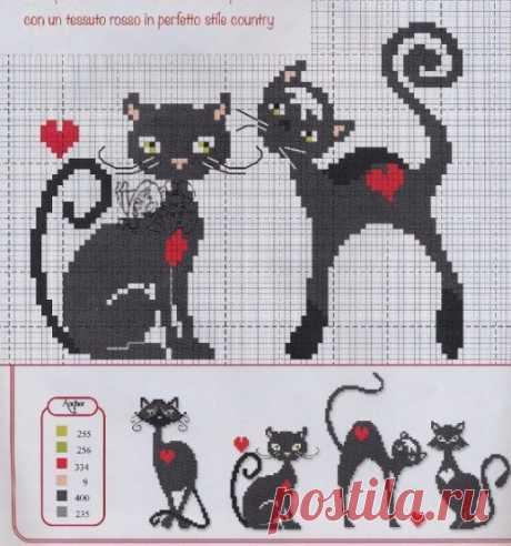 Вышивка крестом. Схемы для любительниц черных котов и кошечек Несколько симпатичный идей для украшения вышивкой полотенец, салфеток и прочих штучке, украшающих нашу жизнь. Любительницам черных котов и кошечек - схемы: