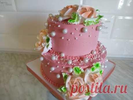 Много говорю)))) Как красиво украсить торт. Торт на День Рождения. Цветы из крема. Юлия Клочкова.