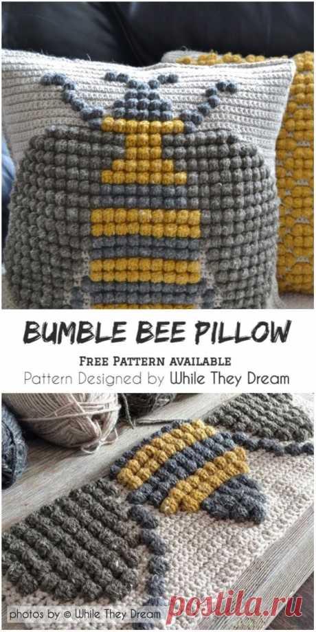 Crochet Bumble Bee Pillow Pattern #pillow #crochet #freecrochetpattern #craft #homedecor #diyideas #homemade