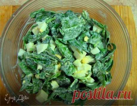 Салат из шпината с яйцом и сыром сулугуни. Ингредиенты: шпинат, сыр, яйца куриные