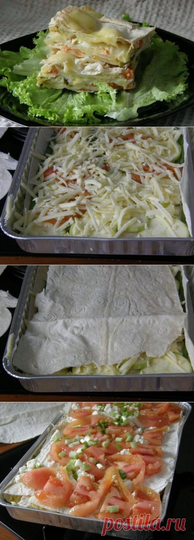 Слоёный пирог из лаваша с овощами и сыром