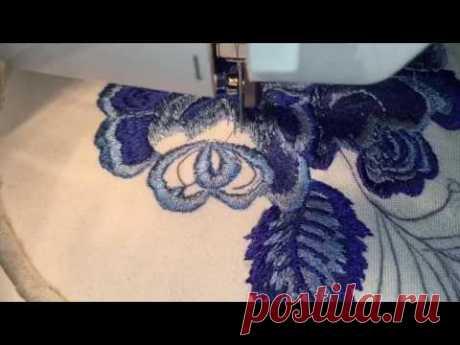 """El bordado sobre la máquina de coser en el estilo """"ГЖЕЛЬ""""Sewing Machine Embroidery ☘️ Freihandsticken Nähmaschine"""