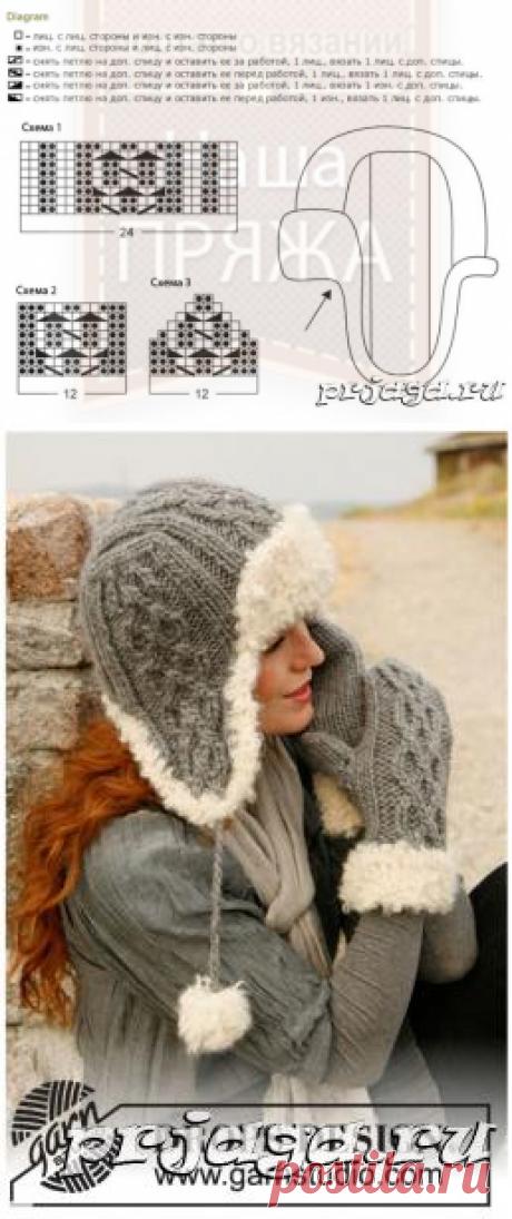 Зимняя шапка спицами от Drops