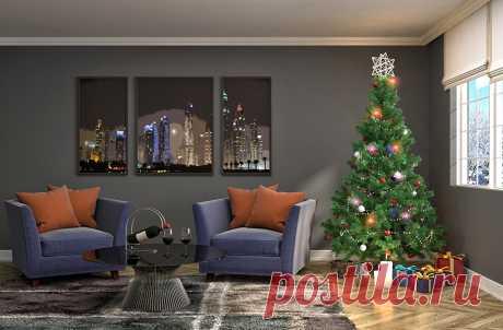 Фотографии Новый год Двое Новогодняя ёлка Подарки Интерьер Окно
