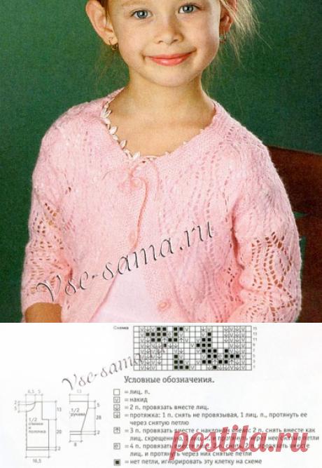 Розовый ажурный жакет спицами - Детские жакеты, кофточки, болеро спицами