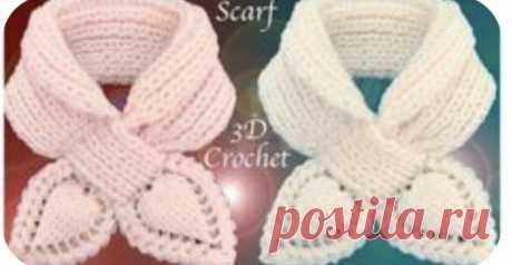 Вязанный шарфик с небольшим отворотом