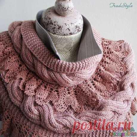 Большой шарф снуд Отделан по кромке широким ручным кружевом из тонкой хлопковой пряжи - Шали,шарфы,палантины - Вязание крючком - Рукоделие