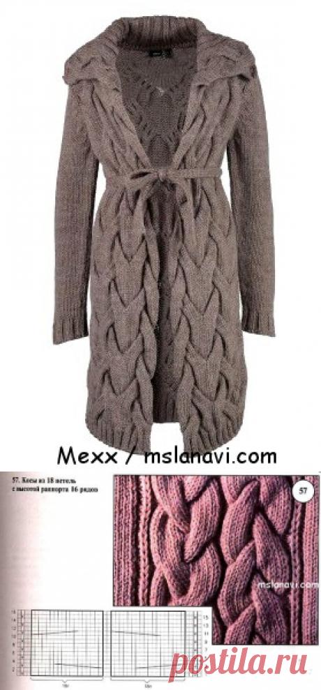 Вязаные пальто и кардиганы спицами с широкими косами | Вяжем с Лана Ви