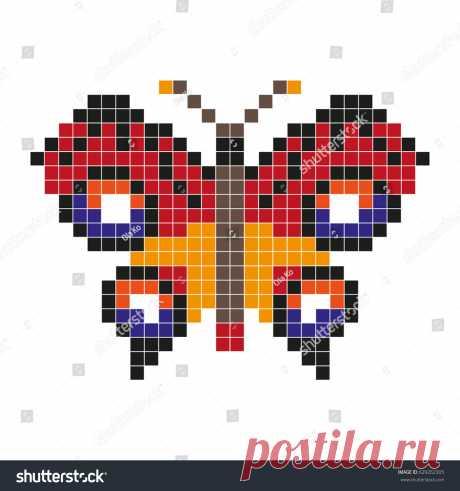 Red Butterfly Pixel Art Style Vector Vectores En Stock 629262305 - Shutterstock