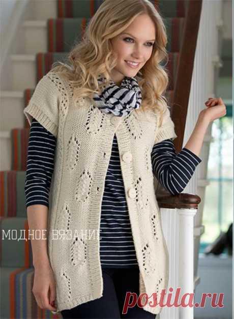 Длинный жилет ажурными листьями из *Simply Knitting*. Спицами. Все размеры. / Modnoe Vyazanie ru.com