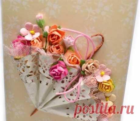 Зонтик в цветах -открытка к празднику. Фото-МК.