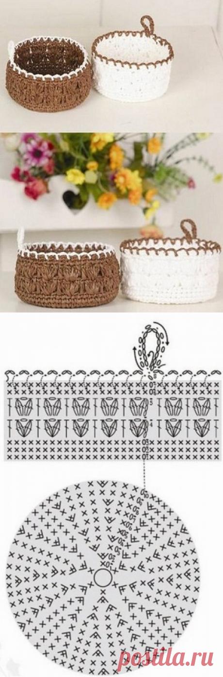 Вязание корзинки крючком
