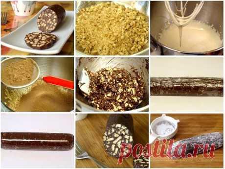 Шоколадная колбаса  Отличный рецепт приготовления шоколадного десерта.