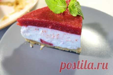 Торт без выпечки. Нежный, клубнично-мятный, сливочный торт без выпечки — Кулинарная книга - рецепты с фото