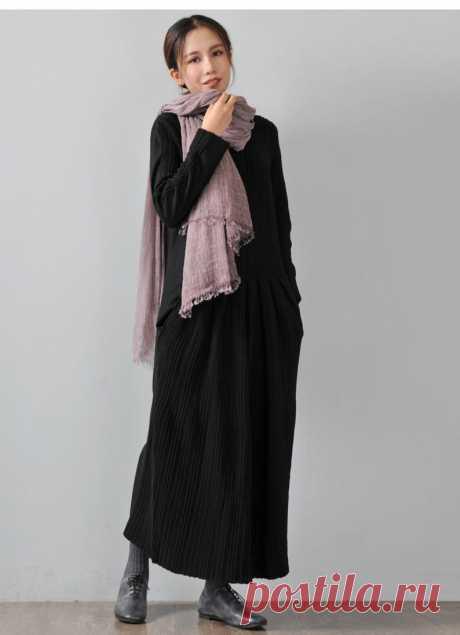 Black Cotton & Wool Blend Dress-V-neck Long Sleeve | Etsy