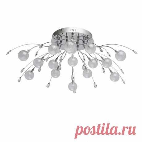 360014116 Люстра потолочная с шариками и листьями с пультом управления хром G4 3000K MW-Light Амелия 360014116, цена 25640 руб.