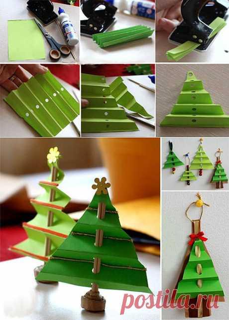 Своими руками > Поделки с детьми > Поделки к Новому Году > Новогодние елки > Елка из бумаги. Вариант 2