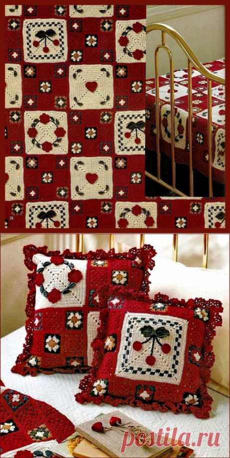 Kрасочный комплект: плед и две подушки | Шкатулочка для рукодельниц