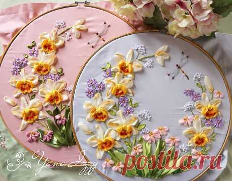 Цветочная вышивка лентами — DIYIdeas