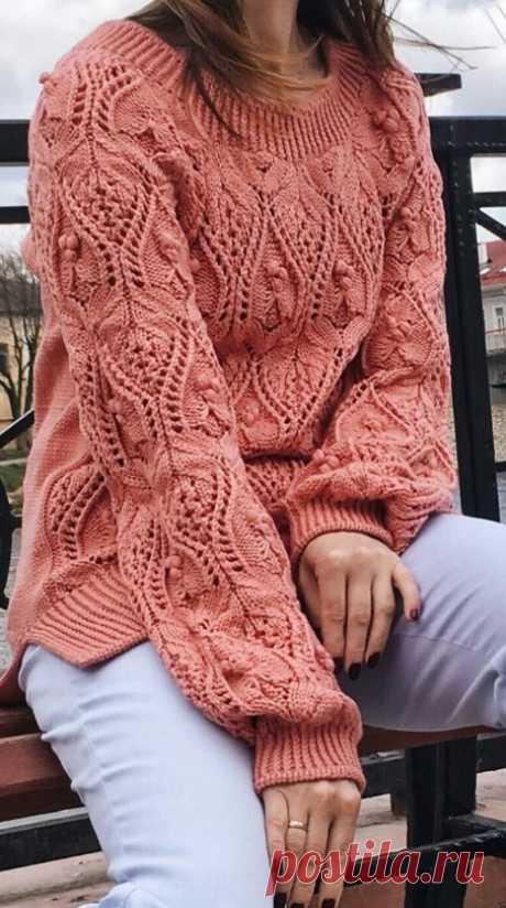 Пуловер японским узором спицами