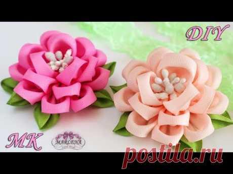 🌺 Цветы из репсовых лент. Зажимы для волос. Канзаши МК/DIY - YouTube
