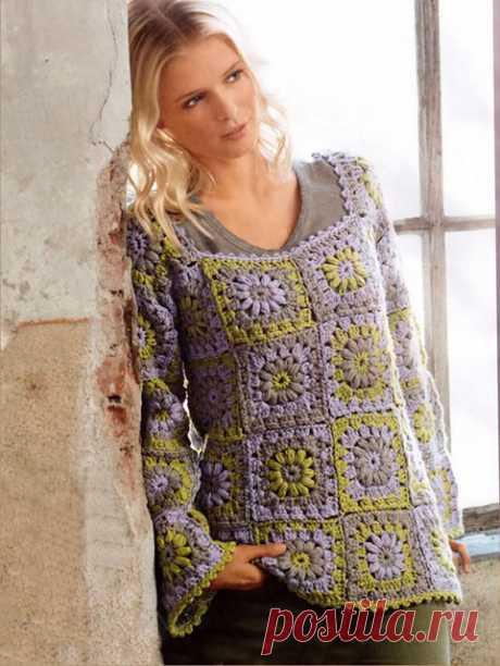 Кофта Полевка из бабушкиного квадрата крючком – простая схема и описание для начинающих — Пошивчик одежды