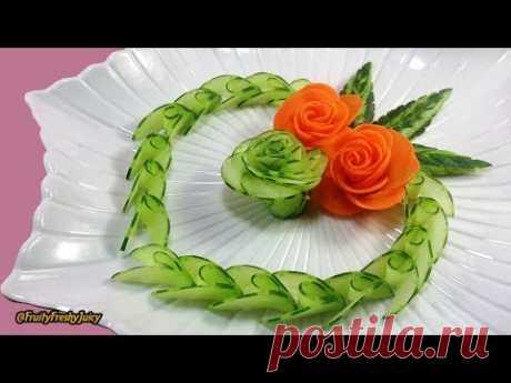 Художественный огурец, морковь Розовая резьба и дизайн - от овощей до цветочного гарнира