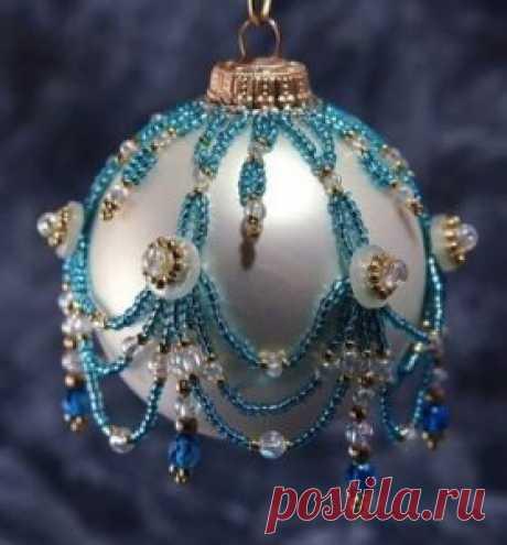 Елочные шары оплетенные бисером ~ Свое рукоделие