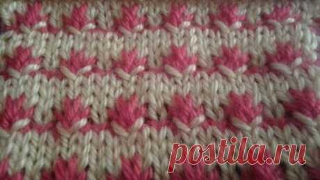 Узор спицами двухцветный. Two-color knitting pattern