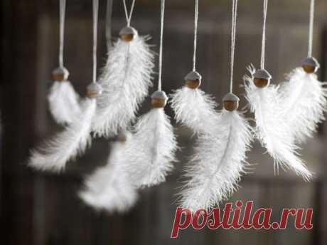 Рождественские ангелы из перьев - Домашний hand-made