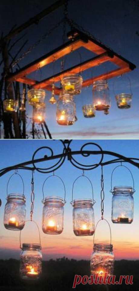 Подсветка в саду из свечей, мастер класс. Все просто!