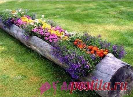 Как сделать контейнеры для цветника из бревна