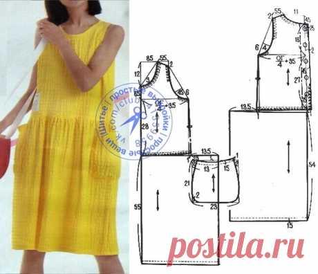 Платье прямого силуэта с отрезной присборенной юбкой. #простыевыкройки #простыевещи #шитье #платье #свободныйкрой #выкройка