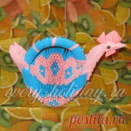 """El canastillo de Pascua """"Курочка"""" Modular el origami."""